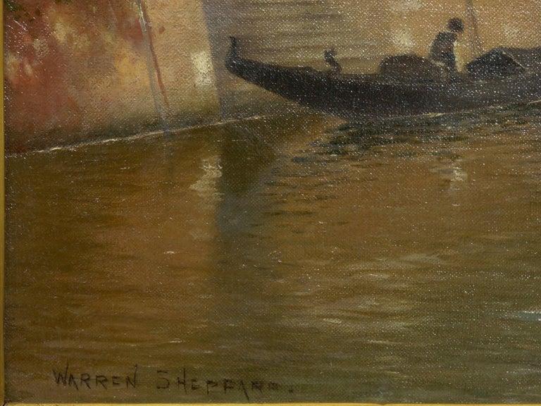 "Canvas ""Venetian Canal"" Antique Oil Painting by Warren Shepherd 'American, 1858-1937' For Sale"