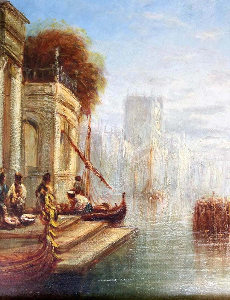 Oil on canvas, signed lower right. Reminiscent of the work of Turner in Venice. Measures 12