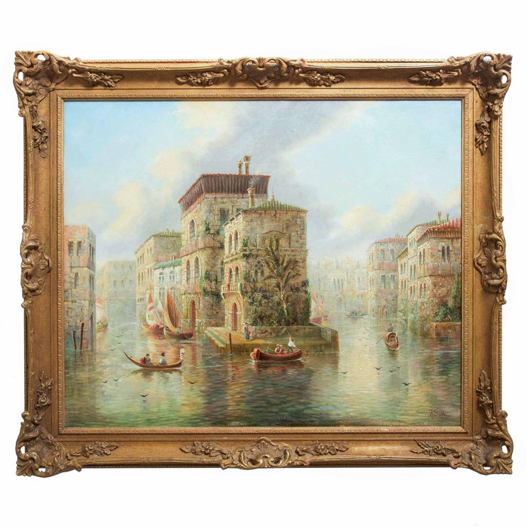 An evocative nostalgic work that captures a vision of the canals of Venice, it was a specialty of James Salt to complete these