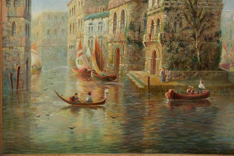 Hand-Painted Venetian Capriccio Landscape Painting by James Salt 'English, 1850-1903' For Sale