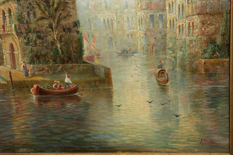 Venetian Capriccio Landscape Painting by James Salt 'English, 1850-1903' In Good Condition For Sale In Shippensburg, PA