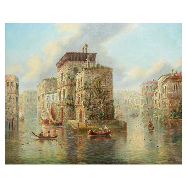 Venetian Capriccio Landscape Painting by James Salt 'English, 1850-1903' For Sale