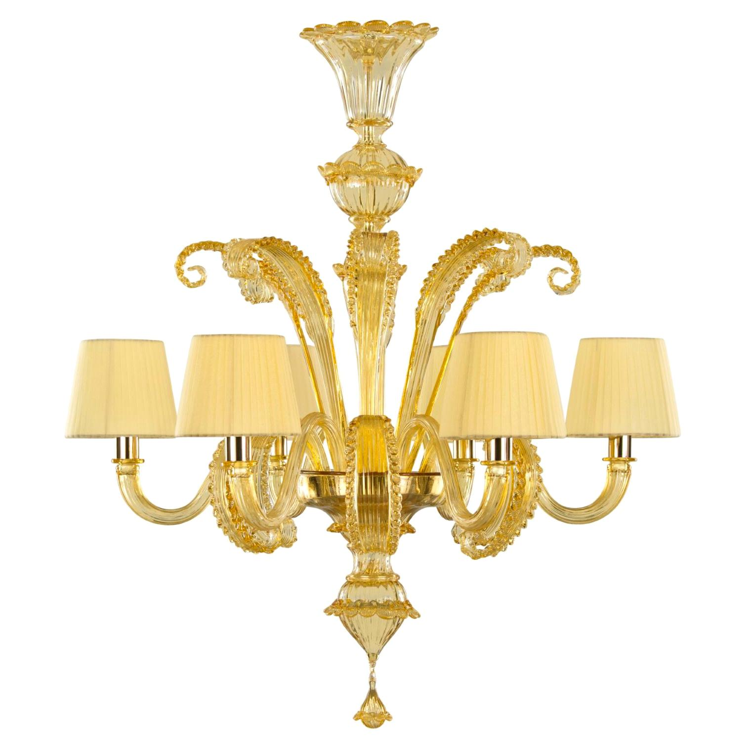 Venetian Chandelier 6 Arms, Murano Amber Glass, Amber Details by Multiforme