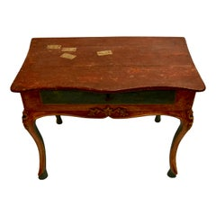 Venetian single drawer console table with trompe l'oeil detail over cabriole leg