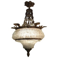 Venetian Crystal and Bronze Chandelier with 6 Lights