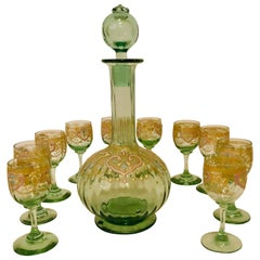 Venetian Decanter With Ten Venetian Cordial Glasses With Colorful Enamel Accents