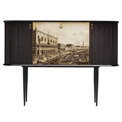 Venetian Dry Bar Cabinet in Mahogany, circa 1940
