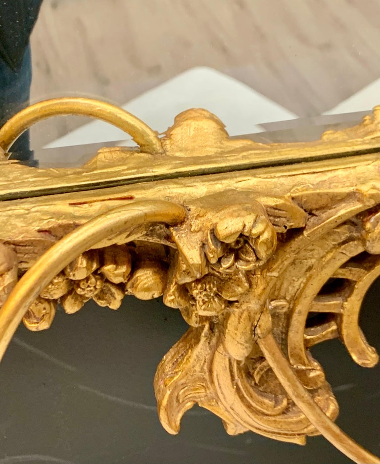 Venetian Early 20th Century Rococo Sculptural Carved Gilt Wood Mirror 6