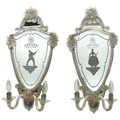 Venetian Etched Woman and Troubadour Murano Glass Mirror Sconces, circa 1920