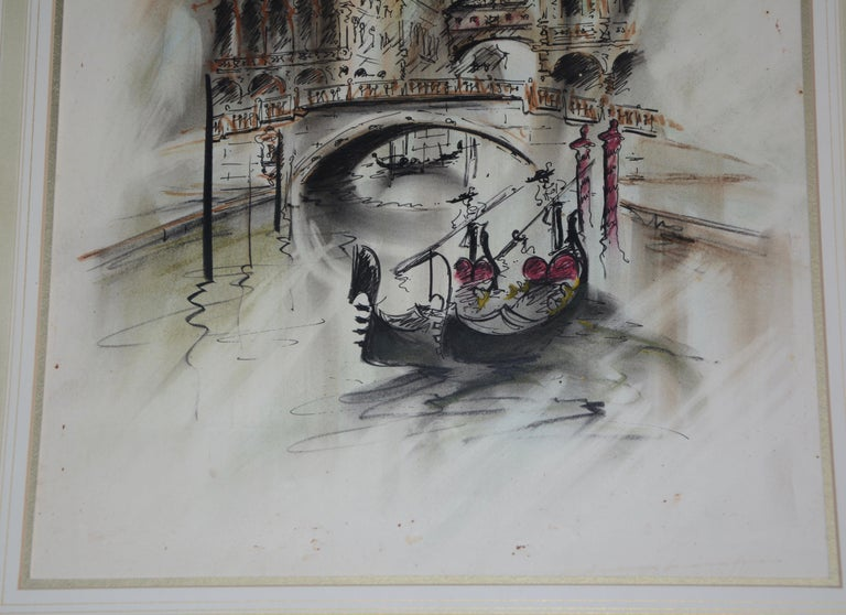This lovely watercolor showcases the waters of Venice with boaters slowly floating along. The buildings in the background add to the beauty of the painting. The piece is artist-signed on the bottom right corner but we could not identify the artist.