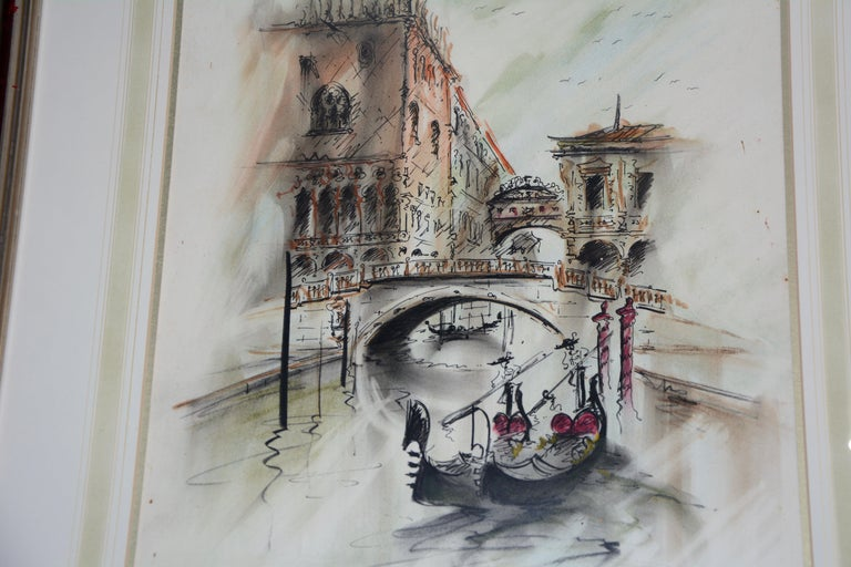 Other Venetian Framed Watercolor Artist Signed For Sale