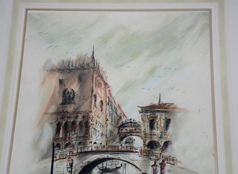 French Venetian Framed Watercolor Artist Signed For Sale