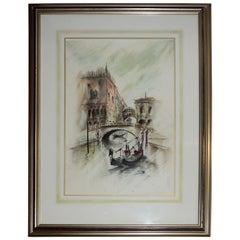 Venetian Framed Watercolor Artist Signed