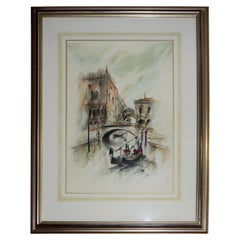 Venetian Framed Watercolor Artist Signed