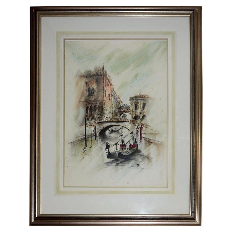 Venetian Framed Watercolor Artist Signed For Sale
