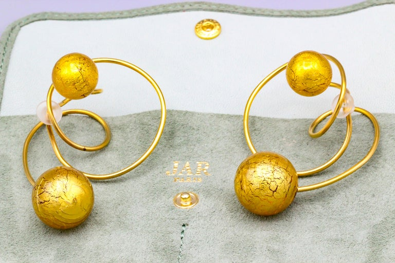 Venetian Glass and Gold Leaf Titanium Earrings by JAR, Paris For Sale 2