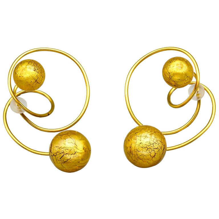 Venetian Glass and Gold Leaf Titanium Earrings by JAR, Paris For Sale