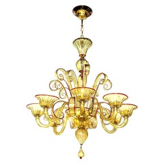 Venetian Glass Chandelier, Amber with Red Details, 8 Arms, Italy, in Stock
