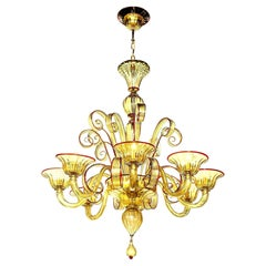 Venetian Glass Chandelier, Amber with Red Details, Italy, 8 Arms