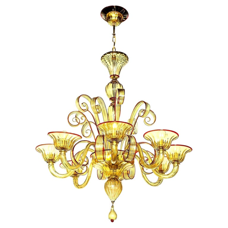 Venetian Glass Chandelier, Amber with Red Details, Italy, 8 Arms, Contemporary For Sale