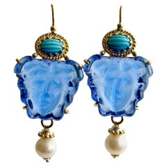 Venetian Glass Intaglio/Cameo Sleeping Beauty Turquoise Earrings