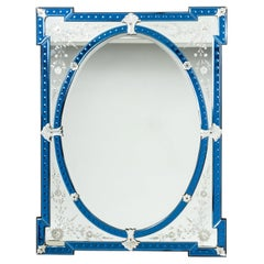 Venetian Glass Mirror with Blue Inset