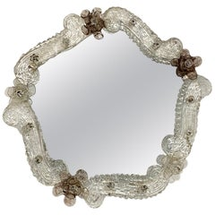 Venetian Glass Mirror with Flowers