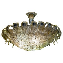 Venetian Gold and Ice Flower Glass Chandelier by Barovier e Toso, 1950