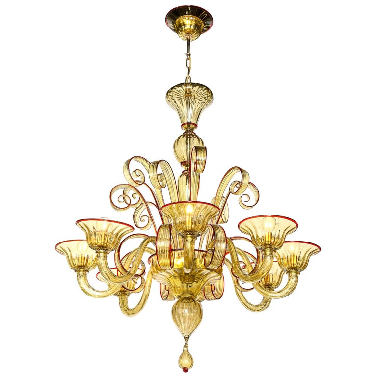 Venetian Gold Glass Chandelier with Red Details, Italy, 8 Arms For Sale