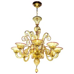 Venetian Gold Glass Chandelier with Red Details, Italy, 8 Arms, in Stock