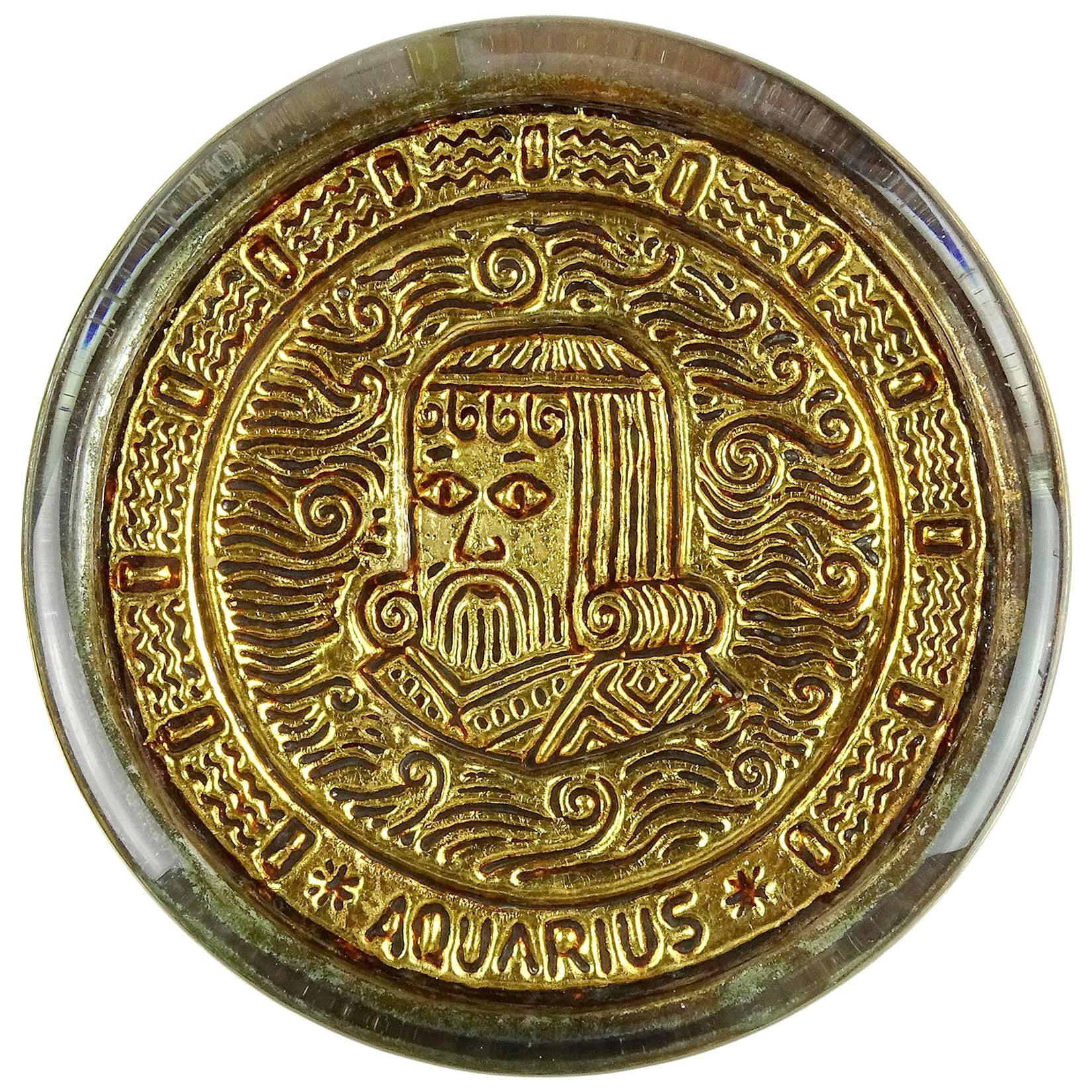 Venetian Gold Leaf Embossed Aquarius Zodiac Sign Italian Art Glass Paperweight