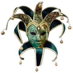 Venetian Green and Gold Modern Mask with Jester Collar and Bells