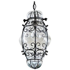 Venetian Hand Blown Clear Glass in Metal Frame Pendant or Lantern