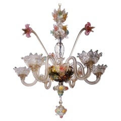 Venetian Hand Blown Vibrant Colored Opaline Murano Candle Chandelier