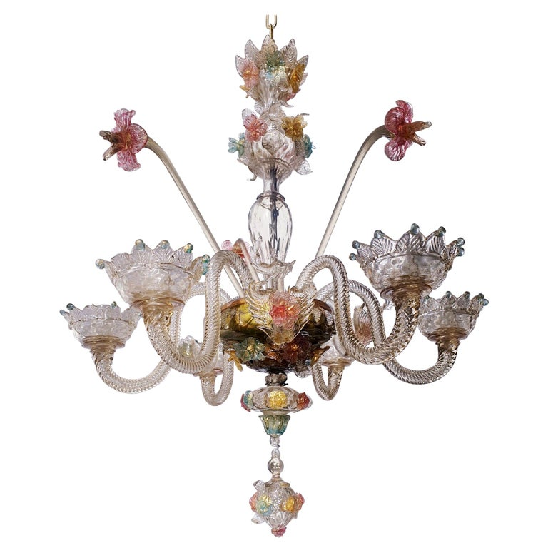 Venetian Hand Blown Vibrant Colored Opaline Murano Candle Chandelier For Sale