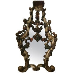 Venetian Hand Carved Framed Mirror with Floral and Fruit Designs