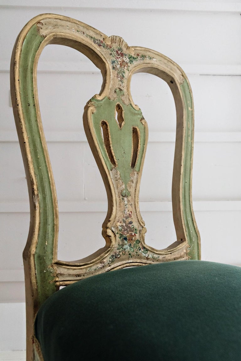 Rococo Venetian Hand Painted Chair For Sale