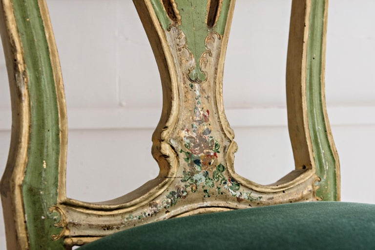 Hand-Painted Venetian Hand Painted Chair For Sale