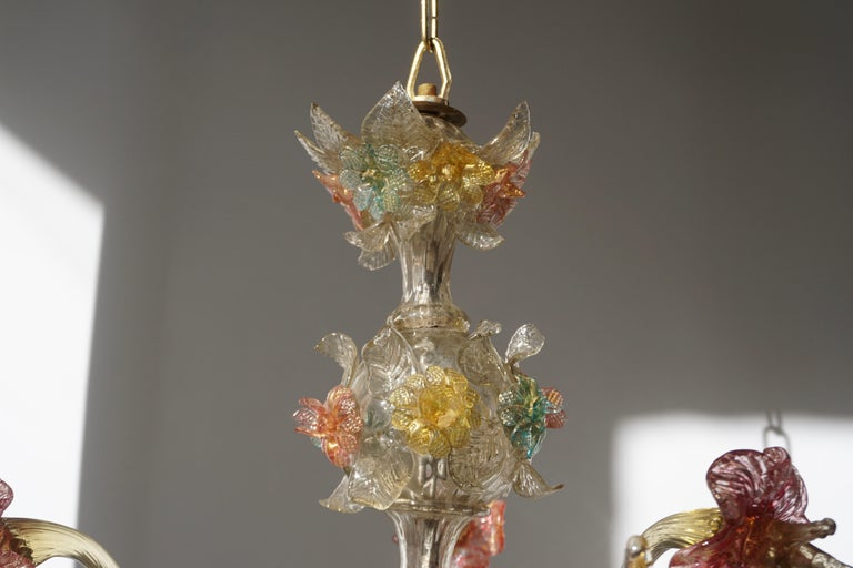 Venetian Hand Blown Vibrant Colored Opaline Murano Candle Chandelier For Sale 8