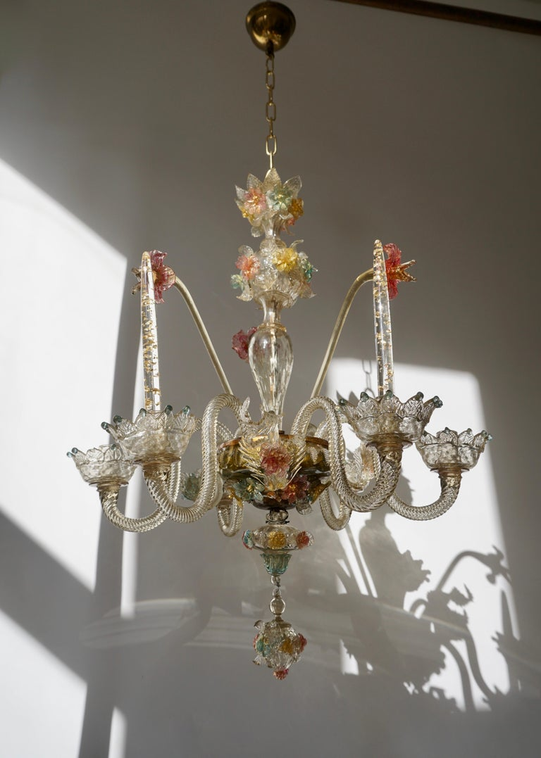 Hollywood Regency Venetian Hand Blown Vibrant Colored Opaline Murano Candle Chandelier For Sale