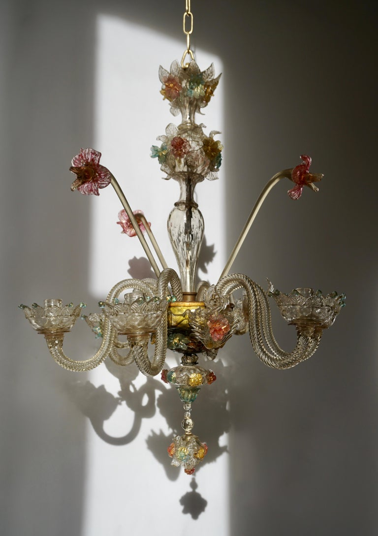 Italian Venetian Hand Blown Vibrant Colored Opaline Murano Candle Chandelier For Sale