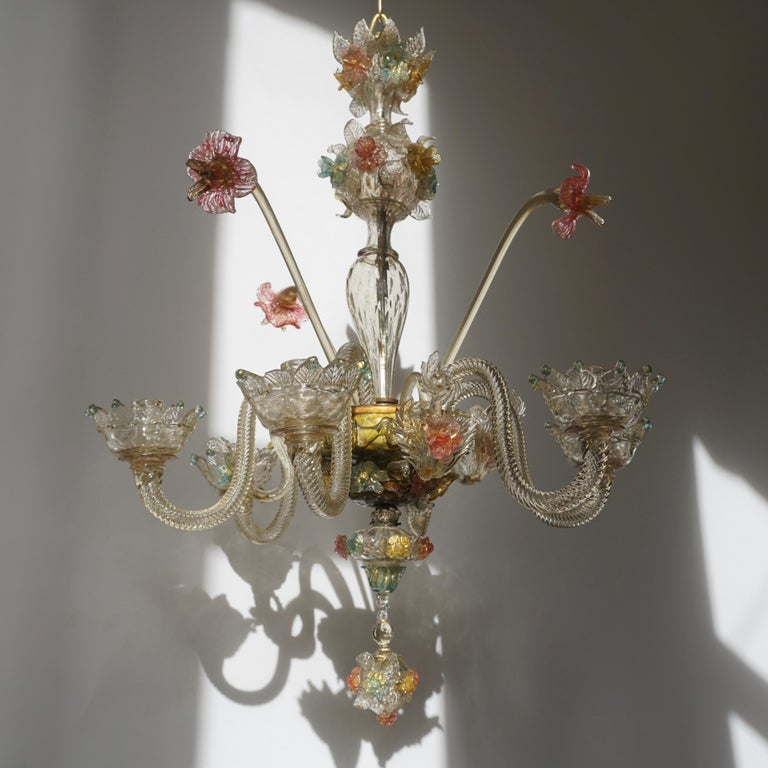 Venetian Hand Blown Vibrant Colored Opaline Murano Candle Chandelier In Good Condition For Sale In Antwerp, BE
