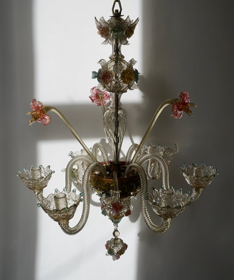 Venetian Hand Blown Vibrant Colored Opaline Murano Candle Chandelier For Sale 2