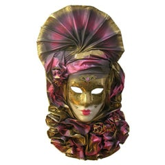 Venetian Handmade Gold and Rose Pink Mask with Flower Pleated Jabot