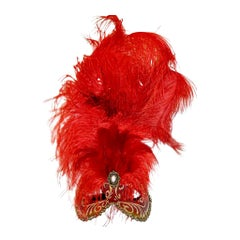 Venetian Handmade Red Carnival Masks with Feathers and Gold Detail