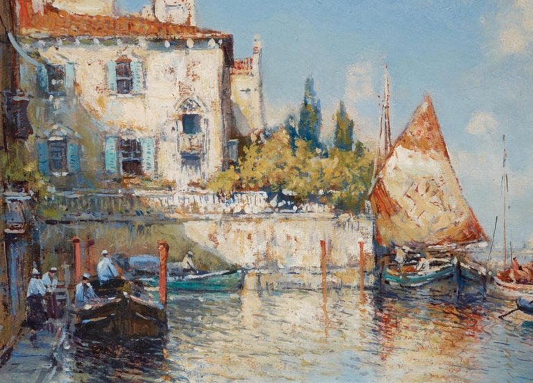 Venetian Harbor, 1925 oil on board by well listed American artist Arthur Vidal Diehl ( 1870-1929). Depicts a serine day with blue skies with boats reflecting in the water. Color is bright and crisp. Condition is excellent. Painting is in the