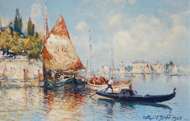 Modern Venetian Harbor, 1925 Oil on Board, Arthur Vidal Diehl 'American' For Sale