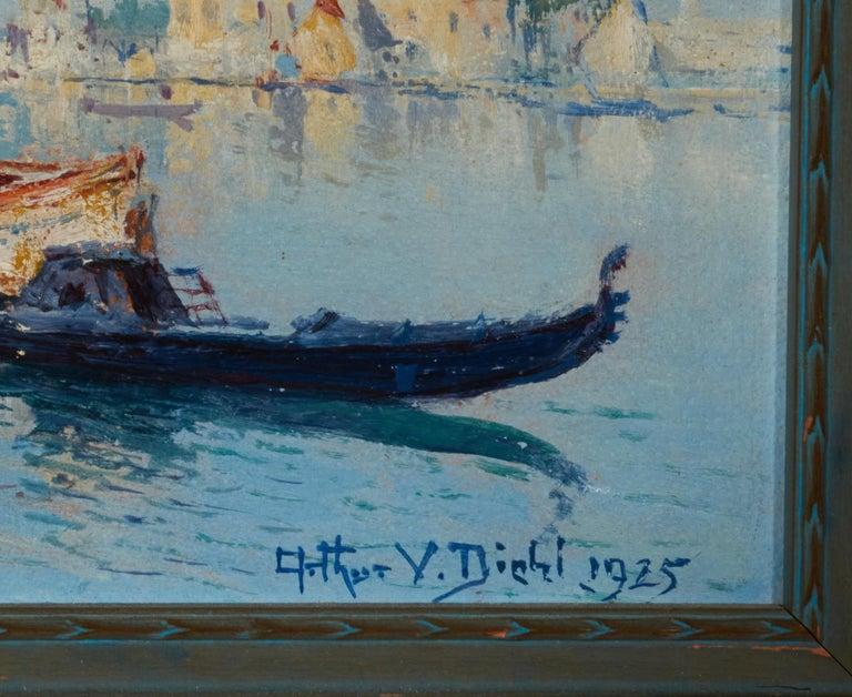 Italian Venetian Harbor, 1925 Oil on Board, Arthur Vidal Diehl 'American' For Sale