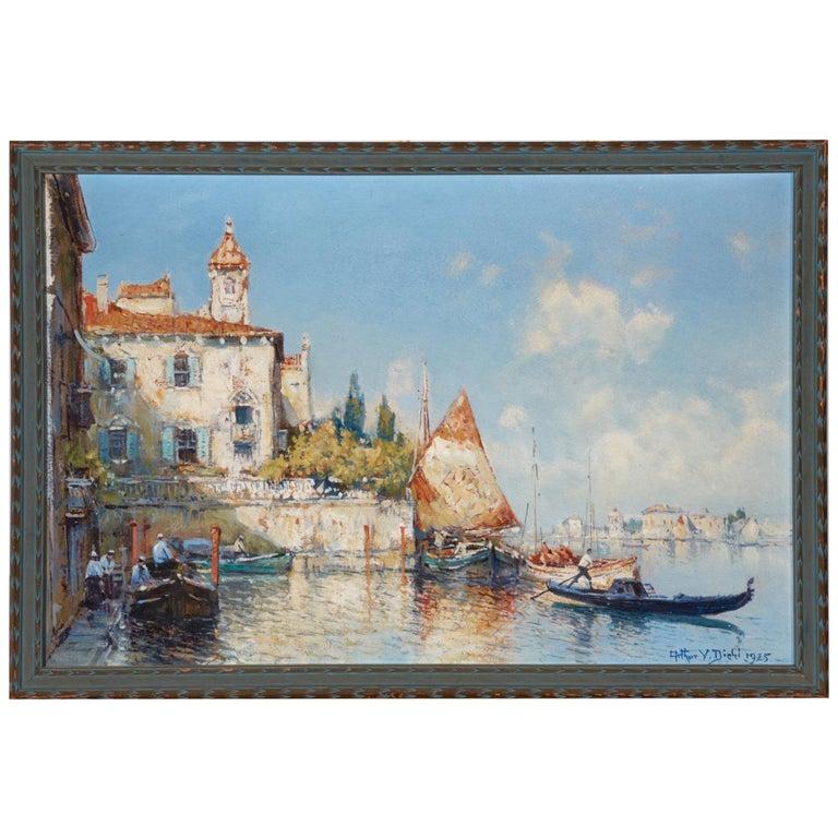 Venetian Harbor, 1925 Oil on Board, Arthur Vidal Diehl 'American' For Sale