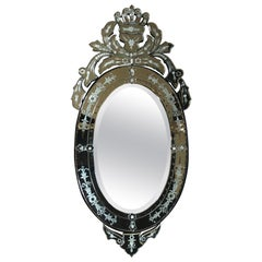 Venetian Hollywood Regency Style Oval Wall Mirror with Etched Floral Motif Italy